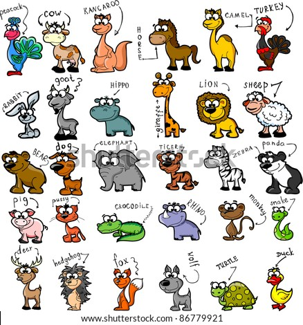 Big set of cartoon animals