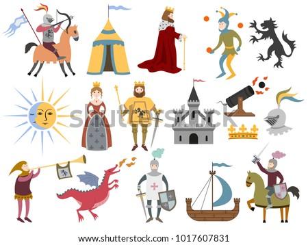 big set of cartoon medieval