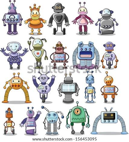big set of cartoon robots