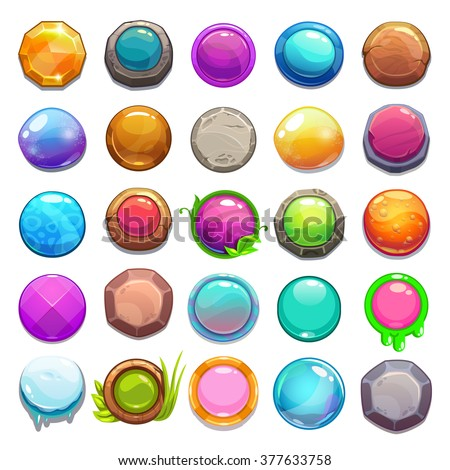 Big set of cartoon round buttons, vector gui assets collection for game design
