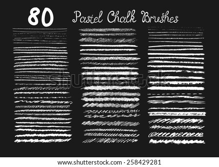 Big set of chalk brushes. Hand drawn pastel  lines. Foto d'archivio ©