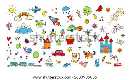 big set of children drawings