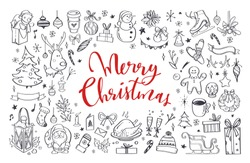 Big set of Christmas design doodle elements. Vector hand drawn . Isolated objects