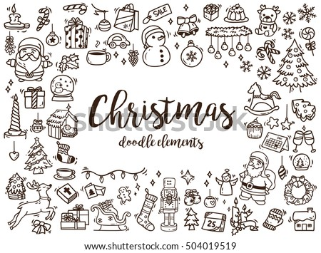 Stock Photo Big set of Christmas design element in doodle style