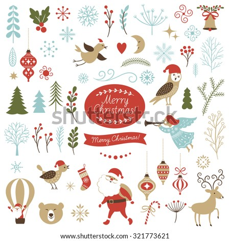 Big Set of Christmas graphic elements on a white background, collection design elements, vector images
