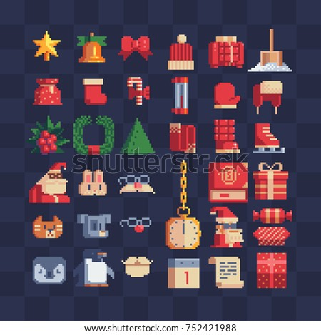 Big set of christmas. Pixel art icons. Isolated vector illustration