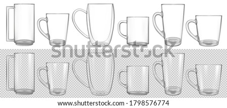 big set of clear glass cup mock