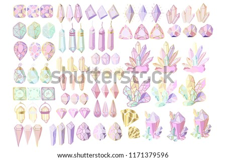 Big set of color and golden crystals and hand drawing gems, three different colors of outline on white background, vector illustration