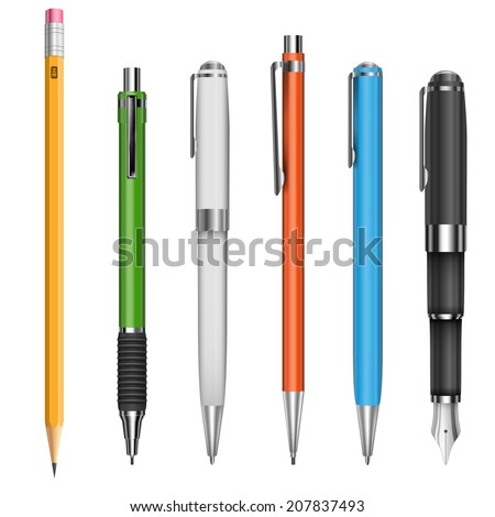 Big set of colored engineering and office pens and pencils, vector illustration