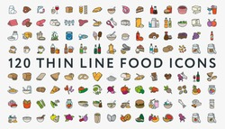 Big Set of 120 Colored Thin Line Stroke Food Icons. Meat, milk, seafood, pasta, soup, bread, egg, cake, sweets, fruits, vegetables, drinks, nutrition, pizza, sauce, cheese, butter, pie, nuts, snacks.