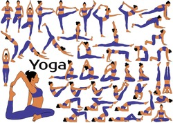Big set of colored vector silhouettes of slim woman in costume practicing yoga and stretching her body in different poses.Sequence of yoga poses for practice.
