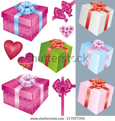 Big set of colorful gift boxes with bows and ribbons and holiday decorations isolated on white background. Vector illustration