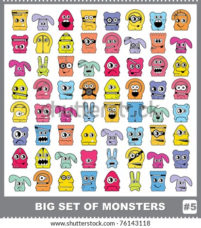 Big set of colorful monsters