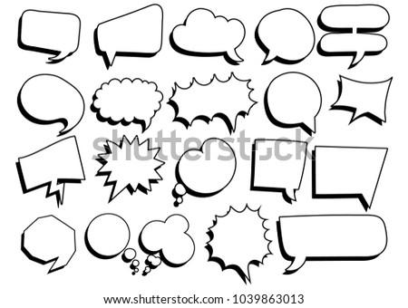 Big set of Comic speech bubbles, vector illustration