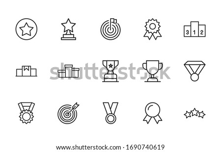 Big set of competitions line icons. Vector illustration isolated on a white background. Premium quality symbols. Stroke vector icons for concept or web graphics. Simple thin line signs.