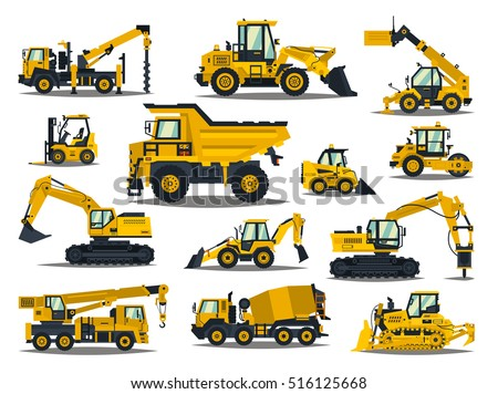 Big set of construction equipment. Special machines for the construction work. Forklifts, cranes, excavators, tractors, bulldozers, trucks. Special equipment. Road repair. Commercial Vehicles.
