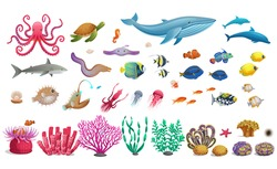 Big set of coral reef with algae tropical fish, a whale, an octopus, a turtle, jellyfish, a shark, an angler fish, a seahorse, a squid and corals. Vector illustration in cartoon style.