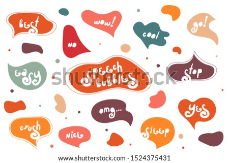 Big set of creative bright speech bubbles. Autumn style. Colorful doodle speech bubbles. Dialog windows with phrases: best, wow, yes, no, cool, go, stop, easy, crush, nice, omg, sleep