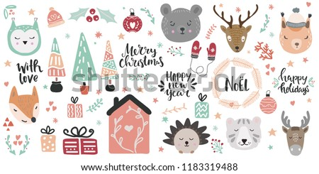 stock-vector-big-set-of-cute-animal-faces-and-christmas-hand-drawn-lettering-and-clip-art-design-elements