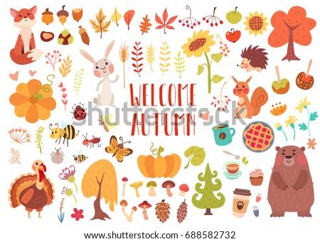 big set of cute autumn animals  ...