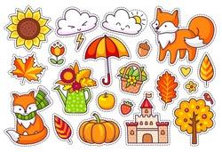 Big set of cute autumn plants, foxes, clouds, trees, castle, umbrella, pumpkin. Fall season stickers, pins, badges, patches.