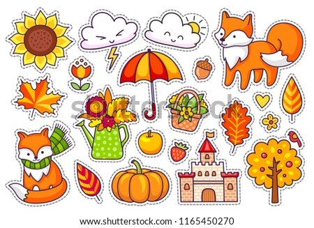 Big set of cute autumn plants, foxes, clouds, trees, castle, umbrella, pumpkin. Fall season stickers, pins, badges, patches.  #1165450270