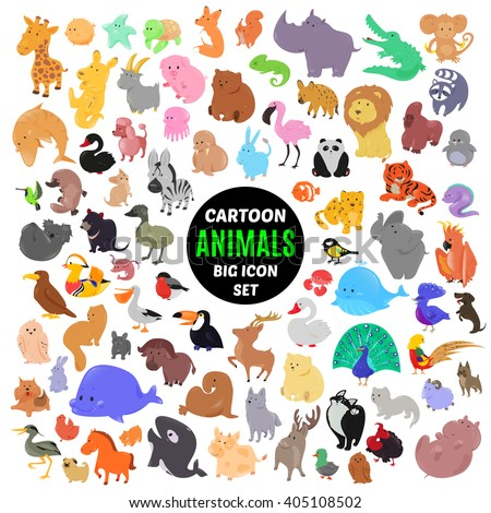 big set of cute cartoon animal