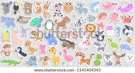 Big set of cute cartoon animal stickers  vector illustration. Flat design. #1145404343