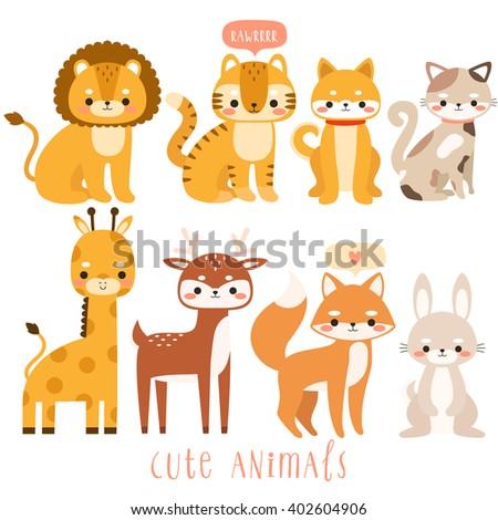 big set of cute cartoon animals  Illustration of cute lion