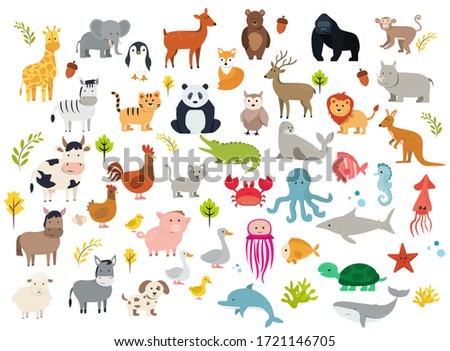 Big Set of Cute Cartoon Animals.Series of Various Forest Wild Animals and Farm Animals in Colour on White Background.Collection of Birds, Pets, Fishes and Sea Marine Animals.Flat Vector Illustration