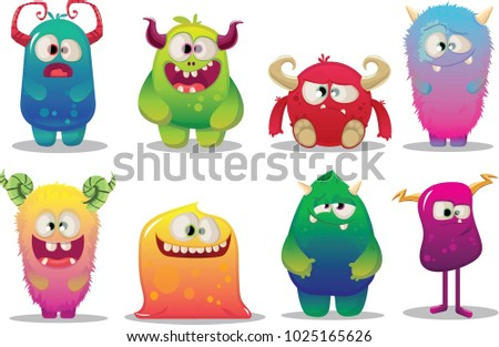 big set of cute cartoon funny