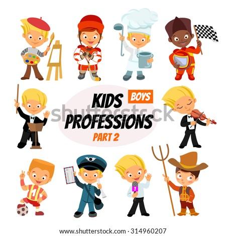Big set of cute cartoon professions for kids. Painter, hockey-player, cook, racer, bandmaster, postman, journalist,farmer. Funny cartoon boys. Professions icon set. Vector illustration