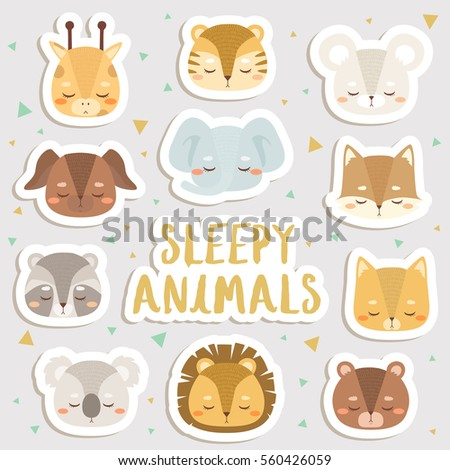 big set of cute cartoon sleepy animals stickers. cute stickers, patches or pins collection. cute animals stickers set