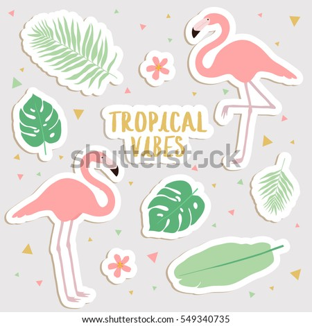 big set of cute cartoon tropical stickers with palm leaves and flamingos. cute stickers, patches or pins collection. tropical vibes stickers set
