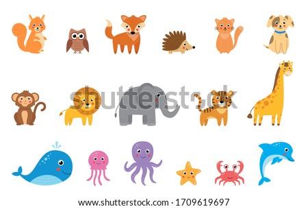 big set of cute cartoon vector