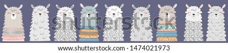 Big set of cute funny different llamas. Hand drawn illustration. Scandinavian style flat design. Concept for children print.