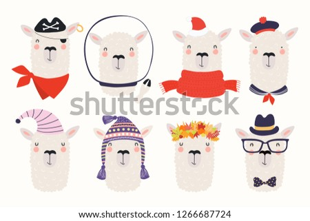 c1984676bec Big set of cute funny different llamas in hats and glasses. Isolated  objects on white