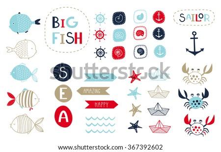 big set of cute marine elements