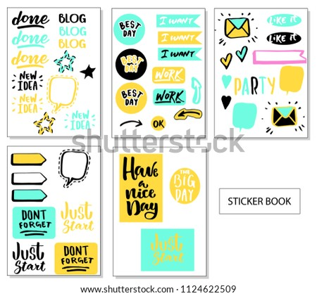 Big Set of  Cute Vector Cards, Notes, Stickers, Labels, Tags . Template for Greeting Scrap booking, Congratulations, Invitations. Vertical Card Design