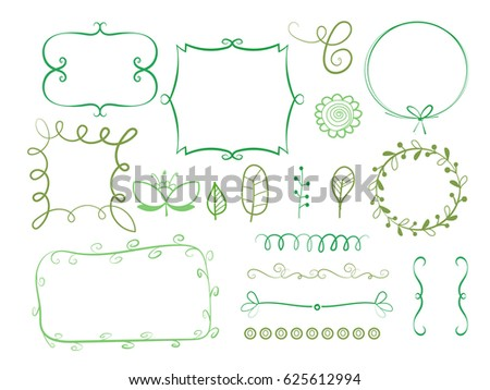 Big Set Of Decorative Elements Borders Frame Bracketswreaths And Text Dividers
