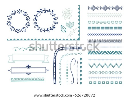 Big set of decorative elements for design. Collection of wreaths, ribbon banners, dividers and borders. Vector illustration.