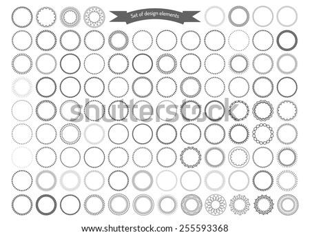 Big set of decorative round frames. Vector design elements.