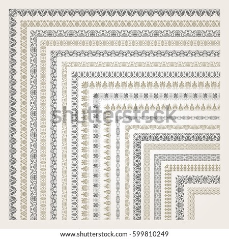 Big set of decorative seamless ornamental border with corner