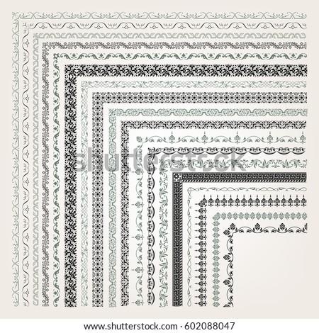 Big set of decorative seamless ornamental border with corner #602088047