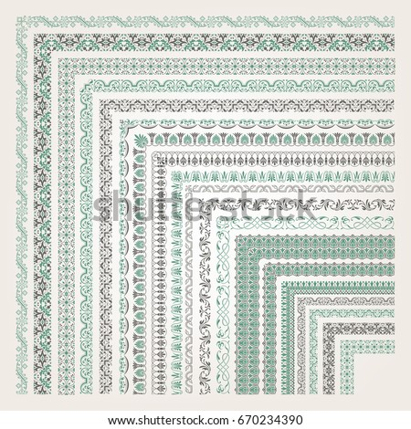 Big set of decorative seamless ornamental border with corner #670234390