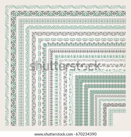 Big set of decorative seamless ornamental border with corner #670234390