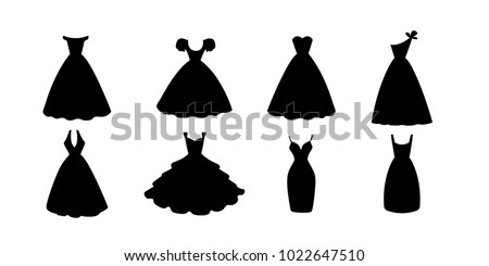 Big set of  different black dresses. Flat black dress icon or silhouette. Vector illustration isolated on white background.