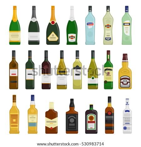 Big set of different bottles of hot drinks vector flat design illustration isolated on white background #530983714