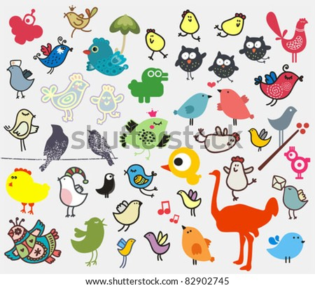 Big set of different cute birds (owl, ostrich, bullfinch, chicken ...). Vector icons for your design.