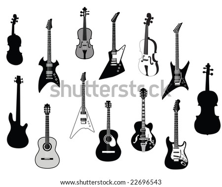 Guitar Vector Silhouettes Download Free Vector Art Stock Graphics